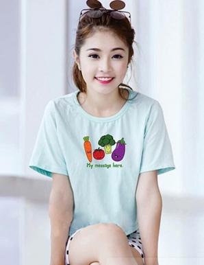 Áo thun nữ màu xanh in hình rau củ ngộ nghĩnh - B1515