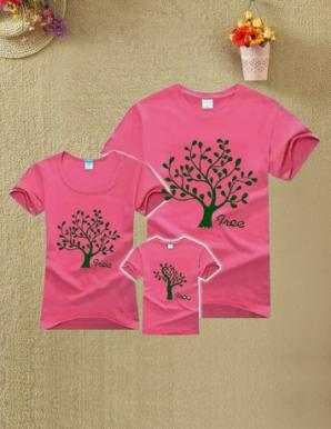 Áo CHA-MẸ màu hồng in hình cây - B1549