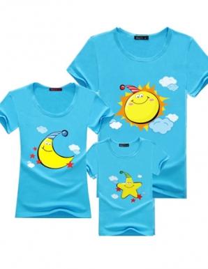 Áo CHA-MẸ màu xanh in trời trăng sao - B1553