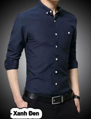Sơ mi tay dài phối túi xanh đen - B1559
