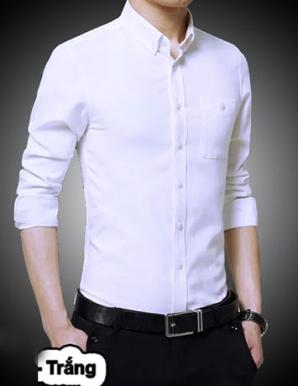 Sơ mi tay dài phối túi màu trắng - B1560