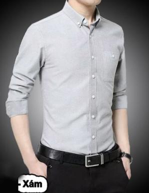 Sơ mi tay dài phối túi màu xám - B1561