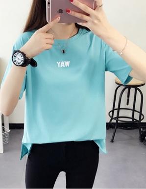 Áo thun nữ Form rộng màu xanh in chữ WAY - B1569