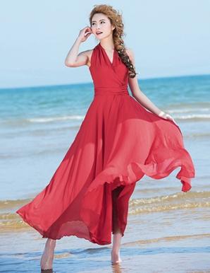 Đầm maxi cổ chéo màu đỏ - B1592
