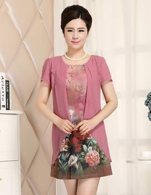 Đầm dự tiệc màu hồng in 3D cổ đính đá - B1700