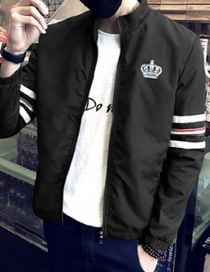 Áo khoác dù tay phối viền màu đen - B1716