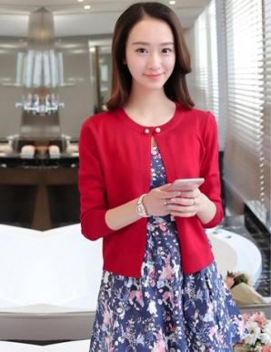 Áo khoác len màu đỏ nút ngọc trai - B1753