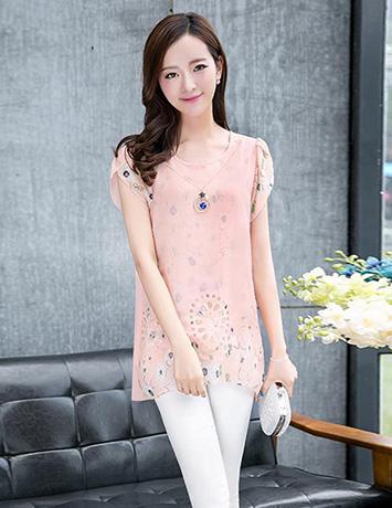 Áo kiểu nữ màu hồng cắt lazer tay búp - B1762
