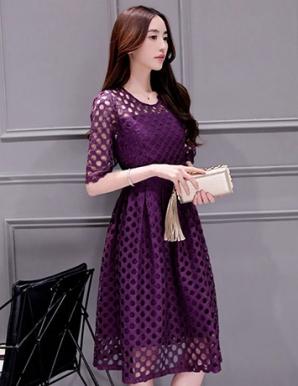 Đầm ren xòe màu tím tay lỡ - B1764