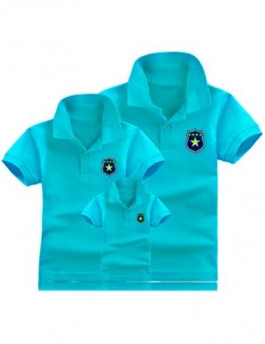 Áo CHA-MẸ màu xanh in logo sao - B1859
