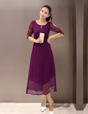 Đầm voan tay xẻ thời trang - B1887