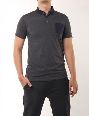 Áo thun cổ trụ phối túi màu xám đen - B1919
