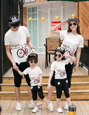 Áo gia đình màu trắng in Bicycle - B2034