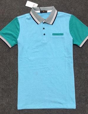 Áo thun tay phối màu xanh thiên thanh - B2187