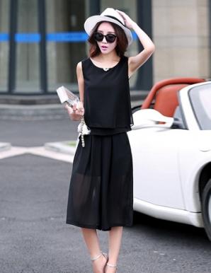 Set áo hai tầng quần ống rộng màu đen - B2209