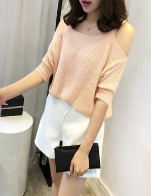 Áo len cut out vai thời trang màu hồng - B2221