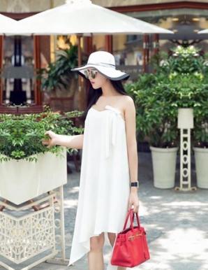 Đầm dây lai nhọn màu trắng - B2230