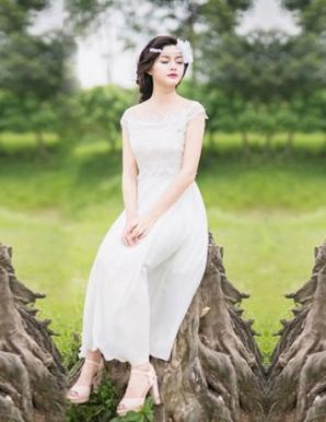 Đầm maxi cổ thuyền phối ren - B2241