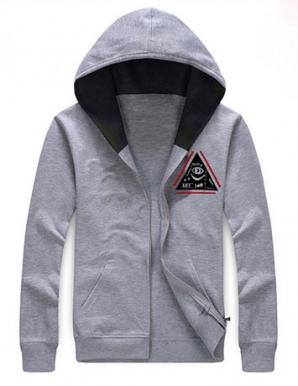 Áo khoác nỉ phối logo tam giác màu xám - B2278