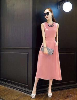 Đầm dạo phố màu hồng hở eo - B2347