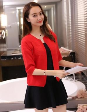 Áo khoác len gợn sóng tay phồng màu đỏ - B2383