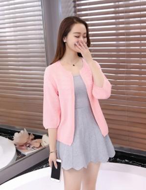Áo khoác len gợn sóng tay phồng màu hồng - B2384