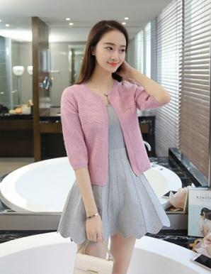 Áo khoác len gợn sóng tay phồng màu hồng - B2385