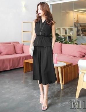 Set áo peplum quần ống rộng màu đen - B2567