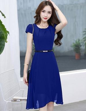 Đầm dự tiệc xếp ly ngực màu xanh - B2571