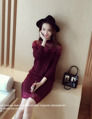 Đầm len màu tím phối ren - B2641