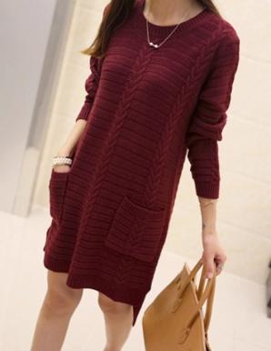 Đầm len suông 2 túi màu đỏ - B2666