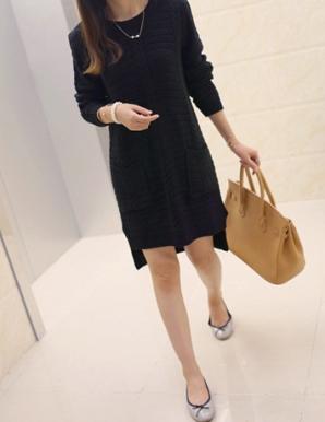 Đầm len suông 2 túi màu đen - B2667