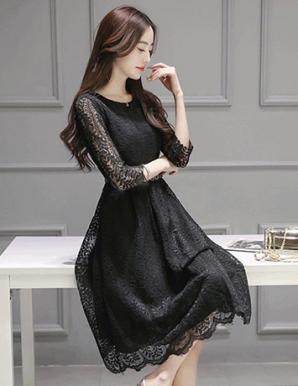 Đầm dự tiệc ren tay lỡ màu đen  - B2689