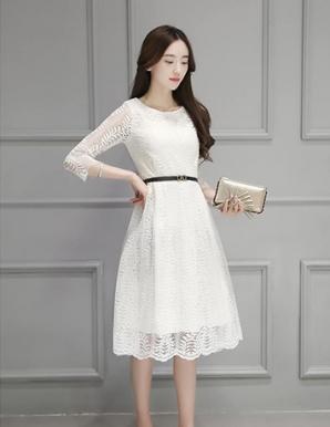 Đầm dự tiệc ren tay lỡ màu trắng - B2690