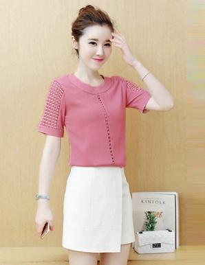 Áo kiểu màu hồng phối ren - B2691