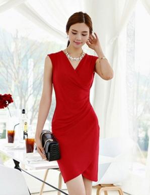 Đầm ôm body màu đỏ nhún eo vạt xéo - B2743