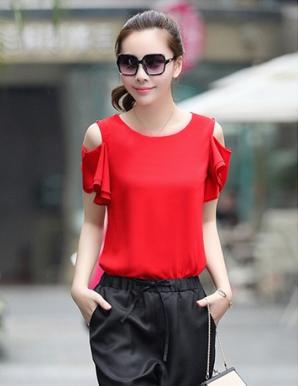 Áo kiểu tay cánh tiên vai rớt màu đỏ - B2751