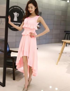 Đầm dún hai tầng váy đuôi tôm màu hồng - B2880
