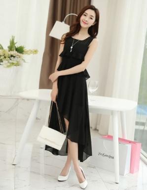 Đầm dún hai tầng váy đuôi tôm màu đen - B2881