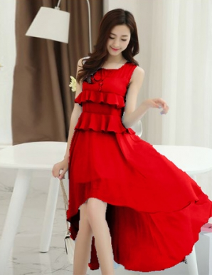 Đầm dún hai tầng váy đuôi tôm màu đỏ - B2882