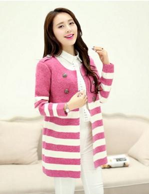 Áo khoác len sọc màu hồng phối nút - B2886