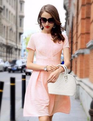Đầm xòe ren sọc màu hồng - B2927