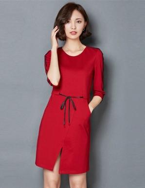 Đầm công sở màu đỏ tay phối viền - B2952