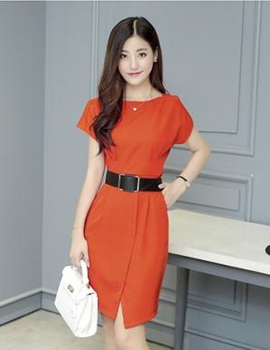 Đầm công sở tay dơi phối nút màu cam - B2955