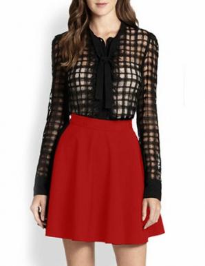 Chân váy xòe ngắn màu đỏ - B2959