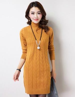 Áo len form dài ôm body cổ cao màu vàng bò - B3021