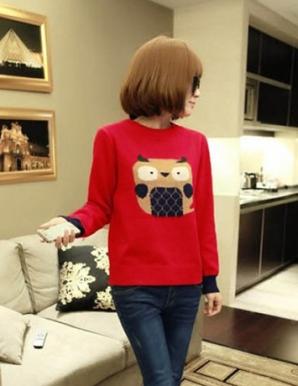 Áo len màu đỏ hình cú mèo - B3051