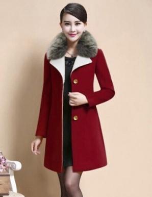 Áo khoác dạ màu đỏ cổ lông - B3060