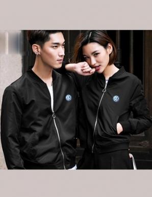 Áo khoác dù cặp màu đen in logo - B3115