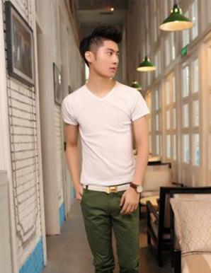 Áo thun nam màu trắng cổ tim - B3124